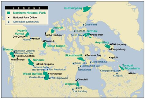 national parks canada map research in northern national parks