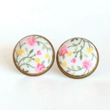 02c087rflowers Fabric Pearl Earrings Green Yellow shop pink shabby chic fabric on wanelo