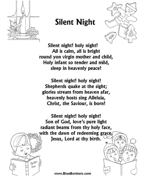 bluebonkers christmas lyrics quot silent quot lyrics free printable free printable carol lyrics sheets