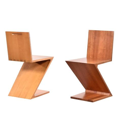 Zig Zag Chair by Gerrit Rietveld Zig Zag Chairs For Cassina At 1stdibs