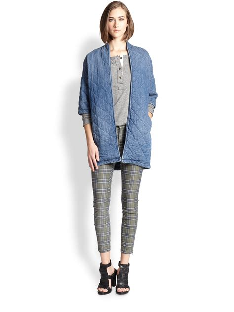 Quilted Denim Jacket by Current Elliott The Chamry Quilted Denim Jacket In Blue Lyst