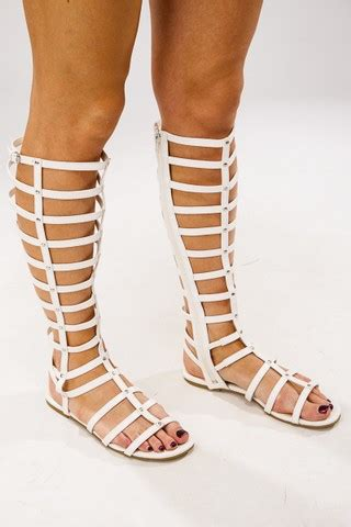 knee high gladiator sandals for sale white knee high gladiator sandals at misspap co uk