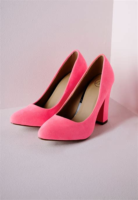 pink block heel shoes is heel