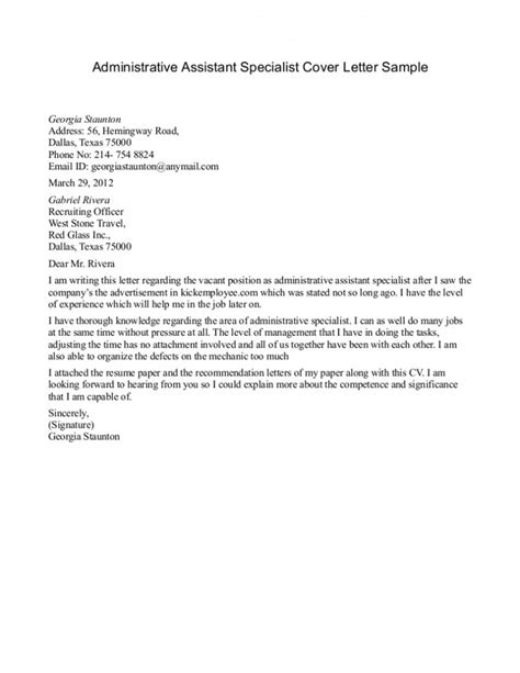 cover letter for assistant position sle cover letter administrative assistant for on