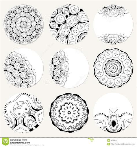 wedding invitation ornament circles vector set with mandala background abstract circle ornament decorative retro element