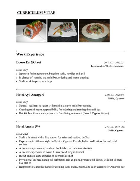Sushi Chef Resume Example by Sushi Chef Presentasjon