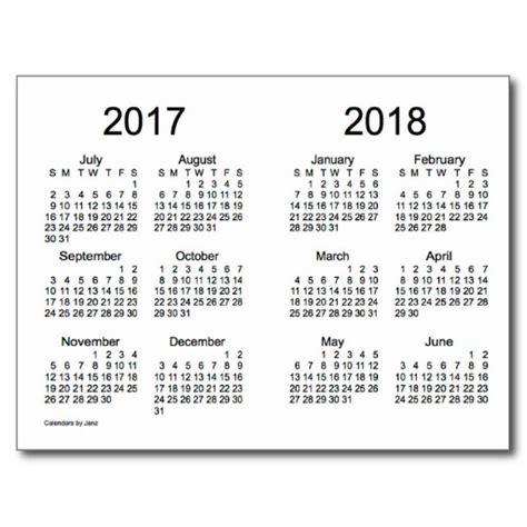 yearly calendar 2017 and 2018 2017 2018 school year mini calendar by janz calendar
