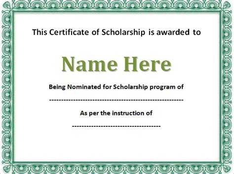 free certificate templates for word word certificate template printable scholarship