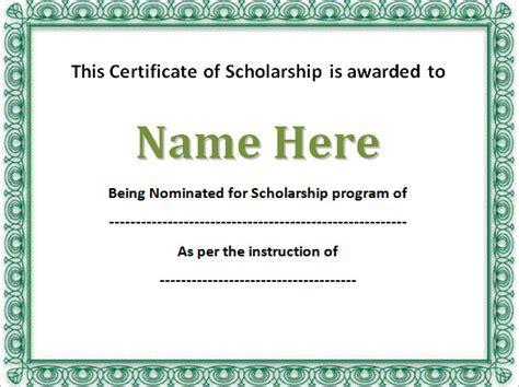Editable Scholarship Certificate Template Word