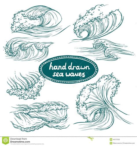 hand drawn vector tutorial waves icons set stock vector image 46137525