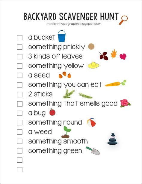 printable toddler scavenger hunt free printable backyard scavenger hunt checklist with