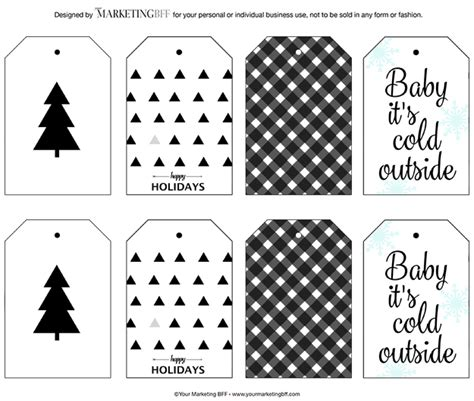 printable christmas tags black and white modern holiday gift tags free printable