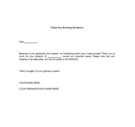 Thank You Letter Wording Thank You Notes For Donation 8 Free Word Excel Pdf Format Free Premium Templates