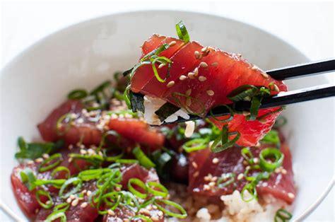 Fish Maguro Sashimi maguro no zuke don marinated tuna on rice recipetin japan