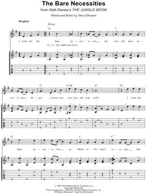printable lyrics bare necessities 75 best images about music sheets on pinterest sheet