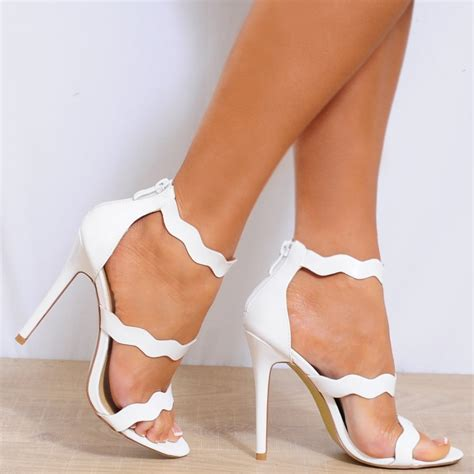 white strappy sandal heels white patent faux leather barely there strappy sandals