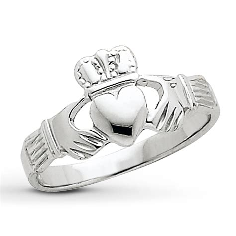 claddagh ring 14k white gold