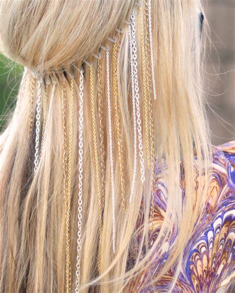 diy hippie hairstyles diy hanging chains headband boho coachella hair