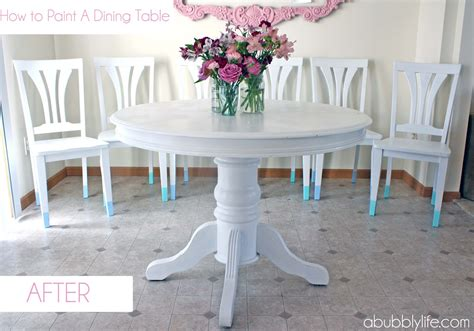 Painting A Dining Room Table A Bubbly How To Paint A Dining Room Table Chairs Makeover Reveal