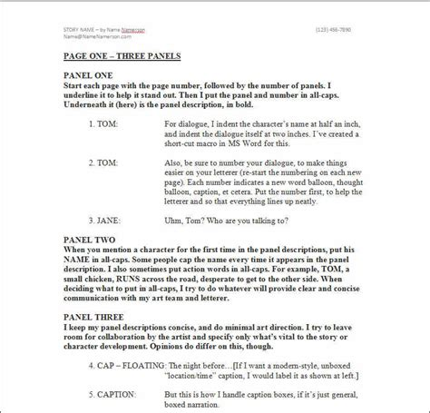 Comic Book Script Template by Looking For A Comic Book Script Format Check Out The