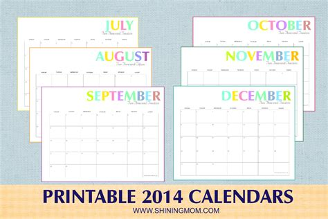 free printable colorful 2014 calendars by shining mom