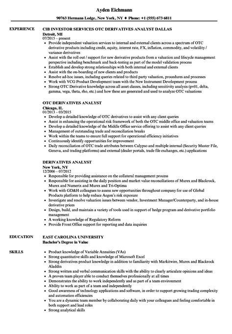 Derivatives Analyst Sle Resume by Resume Analyst Financial Analyst Resume Sle Unique Resume Exles Ideas 3