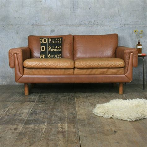 two seater leather sofa midcentury danish two seater tan leather sofa mustard