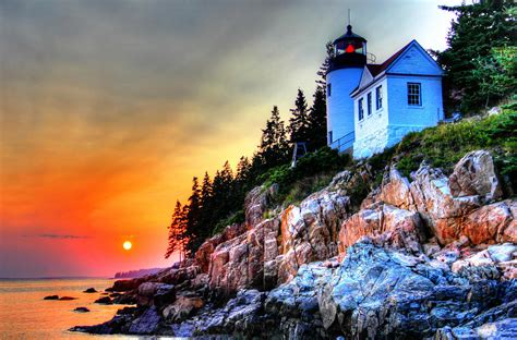 Bass Harbor Head Light House At Sunset Iii Photograph By Harbor House Sunset