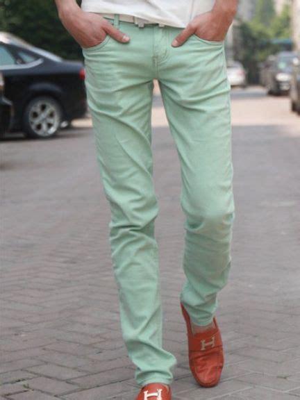 light green jeans mens new vouge men cotton casual long pants light green