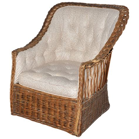 Wicker Back Chairs by Wicker Tufted Back Tub Chair At 1stdibs