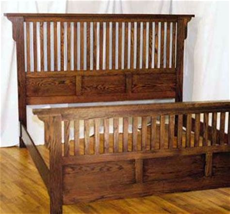 handmade mission style king bed in soild oak by blue bench