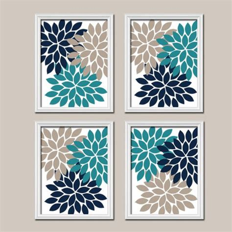 Dahlia Toilet Colour teal navy beige wall canvas or prints bedroom pictures bathroom artwork flower burst wall
