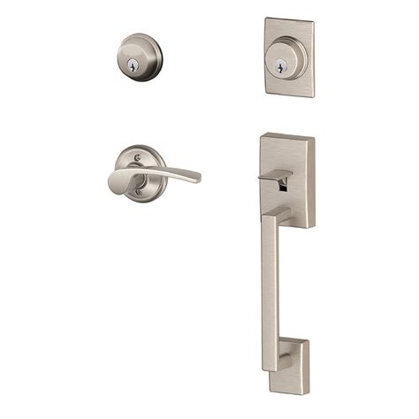 Schlage Patio Door Lock Shop Schlage Century Merano Lever Traditional Satin Nickel Dual Lock Keyed Entry Door Handleset