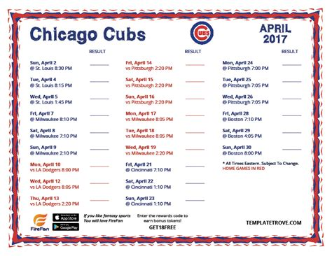 printable 2017 chicago cubs schedule