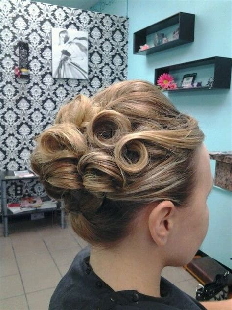 pin curl updo ideas  pinterest retro updo