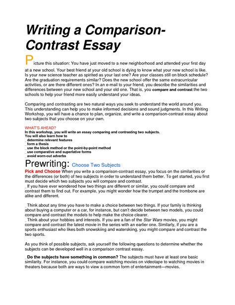 Exle Essay Compare And Contrast by Does A Compare And Contrast Essay A Basic Structure