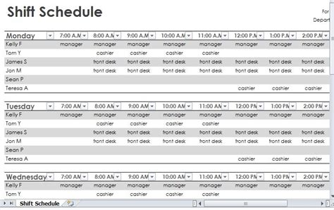 employee shift schedule template search results for printable employee shift schedule