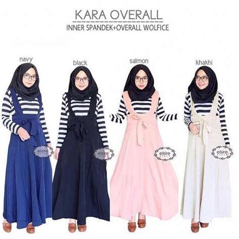 Overall Dress Wanita Muslim Line Overall jual baju kara overall grosir baju muslim pakaian