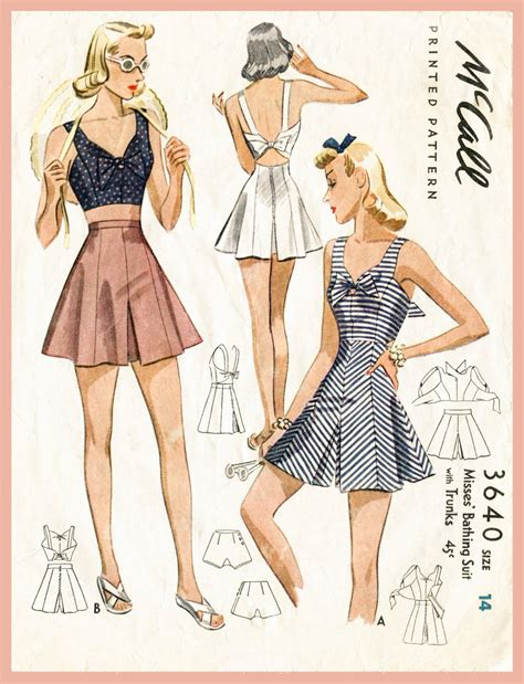 Pickyourdenim Sailor Green 40s 1940s your size bust 32 34 36 38 vintage s sewing pattern crop top playsuit