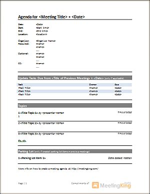 templates de agendas download free meeting agenda template for word