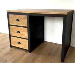 bureau style loft en bois et acier 3 tiroirs meubles et