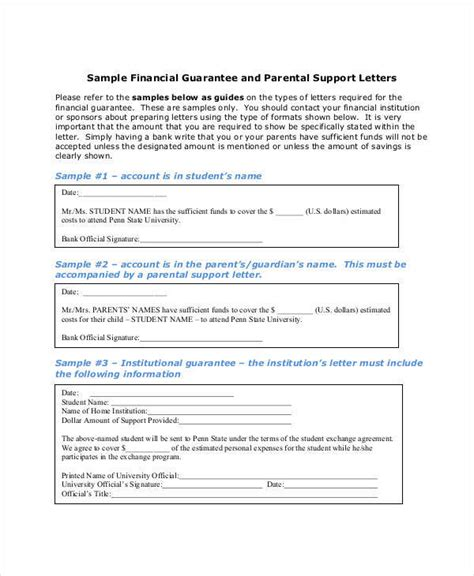 Guarantee Letter Of Support 23 letter of support sles