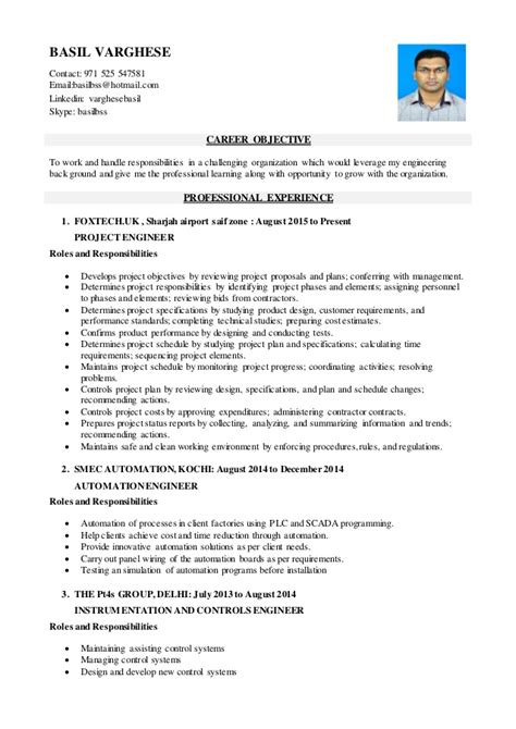 project engineer resume exle basil varghese project engineer resume