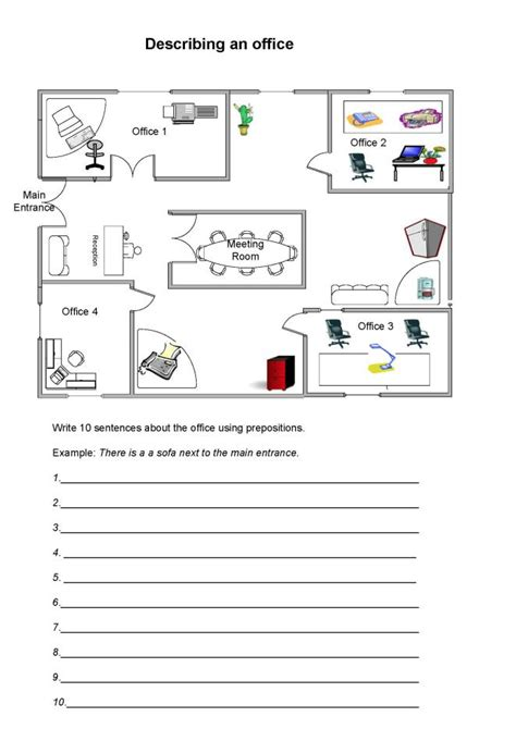 describing an office with prepositions worksheet for students