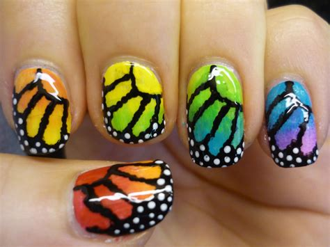 nail art tutorial butterfly rainbow monarch butterfly nail art tutorial youtube