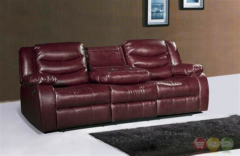 leather reclining sofa with console 644burg burgundy leather reclining sofa with drop down console