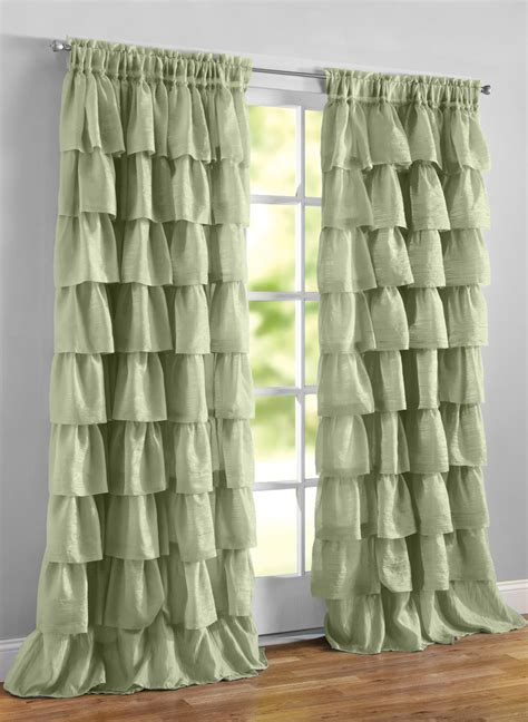 ruffle curtain panels ruffled layered curtains carolwrightgifts com