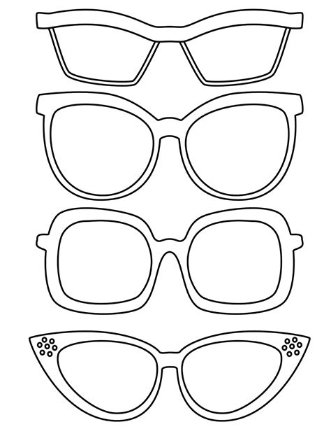 template of glasses spectacles printable pencil and in color spectacles printable