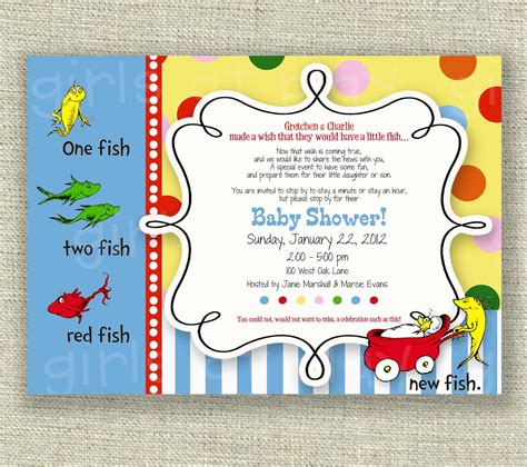 Dr Seuss Baby Shower dr seuss baby shower invitation one fish two fish boy or