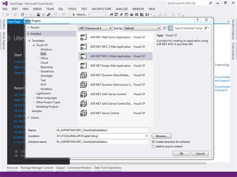 templates asp net visual studio 2012 asp net mvc 4 rc razor ipucu 6 client side validation